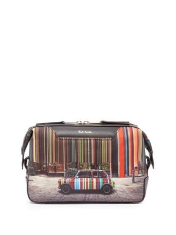 Matchesfashion.com Paul Smith - Signature-stripe Mini-print Canvas Wash Bag - Mens - Black Multi