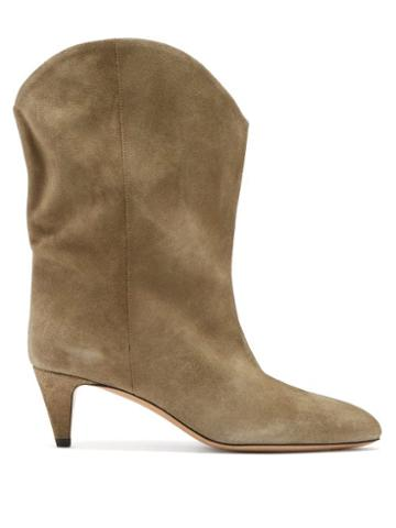 Matchesfashion.com Isabel Marant - Dernee Point-toe Suede Ankle Boots - Womens - Beige
