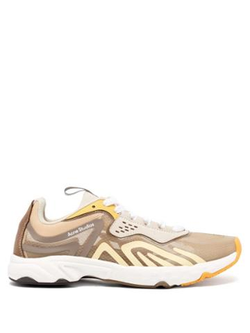 Matchesfashion.com Acne Studios - Buzz Panelled Faux-suede And Mesh Trainers - Womens - Beige Multi
