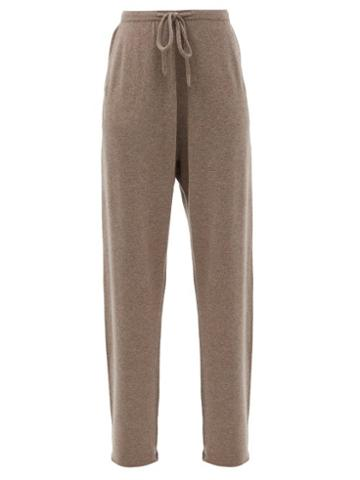 Matchesfashion.com Extreme Cashmere - No.142 Run Stretch-cashmere Wide-leg Track Pants - Womens - Mid Brown