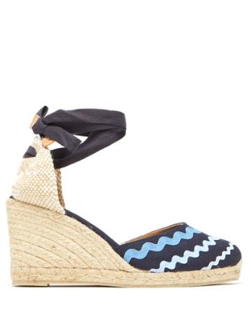 Matchesfashion.com Castaer - Craby 80 Striped Canvas And Jute Platform Wedges - Womens - Blue Multi