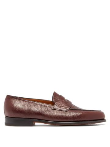Matchesfashion.com John Lobb - Lopez Moorland Grained Leather Loafers - Mens - Burgundy
