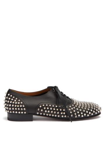 Matchesfashion.com Christian Louboutin - Freddy Spike Embellished Leather Oxford Shoes - Mens - Black