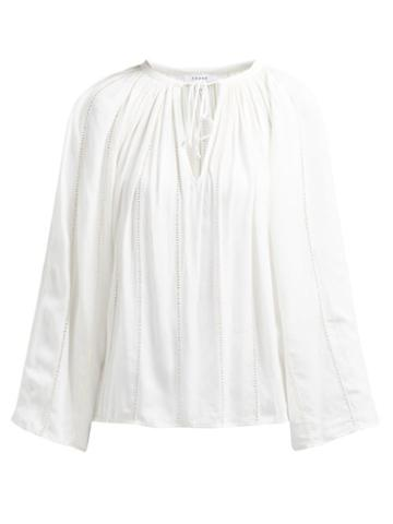 Matchesfashion.com Frame - Lattice Trimmed Tie Front Peasant Top - Womens - Cream