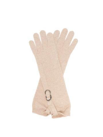Ladies Accessories Brunello Cucinelli - Monili-buckle Cashmere Gloves - Womens - Beige