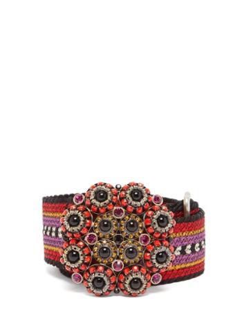 Matchesfashion.com Etro - Embellished Buckle Woven Belt - Womens - Pink