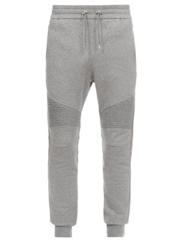 Balmain - Ribbed-panel Jersey Track Pants - Mens - Grey