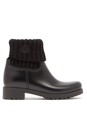 Matchesfashion.com Moncler - Ginette Knitted And Rubber Rain Boots - Womens - Black