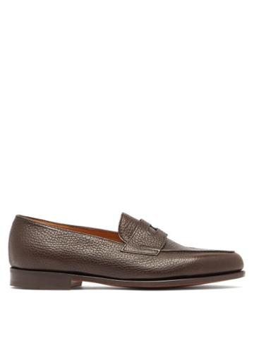 Matchesfashion.com John Lobb - Lopez Grained Leather Penny Loafers - Mens - Brown