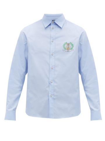 Matchesfashion.com Gucci - Crest Logo Cotton Poplin Shirt - Mens - Blue
