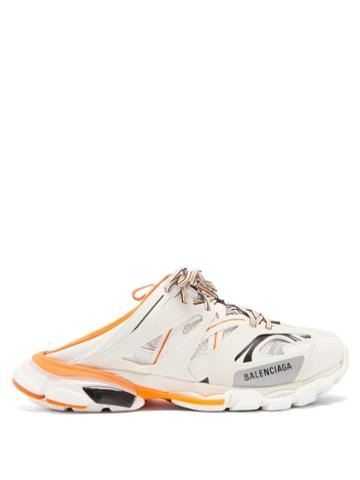 Balenciaga - Track Panelled Trainer Mules - Mens - Orange White