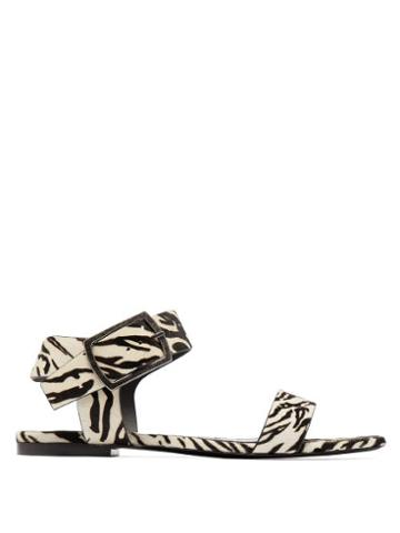 Matchesfashion.com Saint Laurent - Oak Tiger Print Calf Hair Buckle Sandals - Womens - Black White