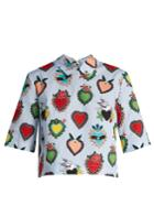 House Of Holland Heart-print Cropped Cotton Top