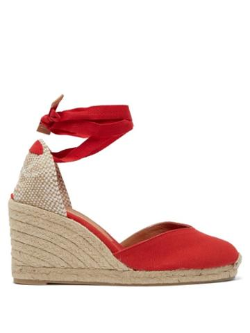 Matchesfashion.com Castaer - Chiara 80 Canvas & Jute Espadrille Wedges - Womens - Red