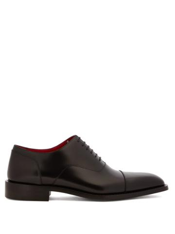 Matchesfashion.com Balenciaga - Contrast-lining Leather Oxford Shoes - Mens - Black Red