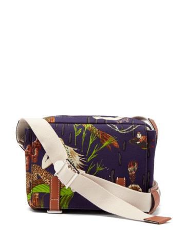 Matchesfashion.com Loewe Paula's Ibiza - Mermaid-print Denim Messenger Bag - Mens - Blue Multi