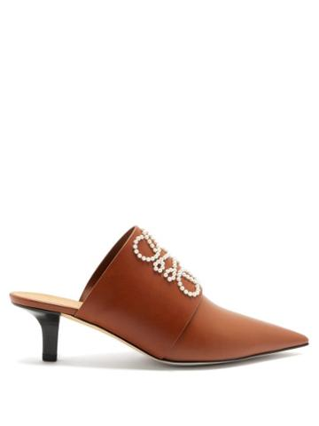 Matchesfashion.com Loewe - Point-toe Pearl-anagram Leather Mules - Womens - Tan