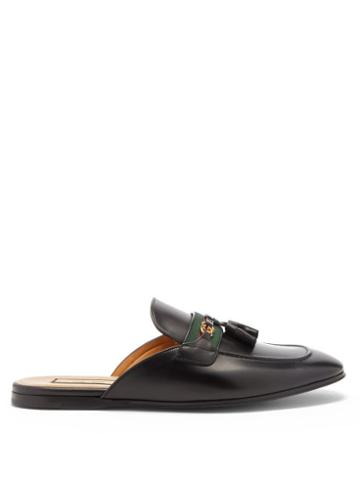 Gucci - Paride Web-striped Leather Backless Loafers - Mens - Black