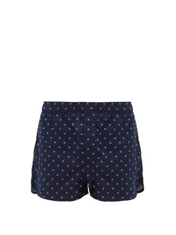 Matchesfashion.com Derek Rose - Nelson Floral Print Cotton Poplin Boxer Shorts - Mens - Navy