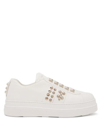 Prada Studded Low-top Leather Trainers