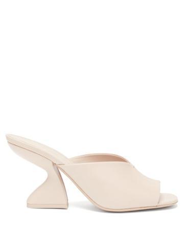 Matchesfashion.com Salvatore Ferragamo - F-heel Nappa-leather Mules - Womens - Light Beige