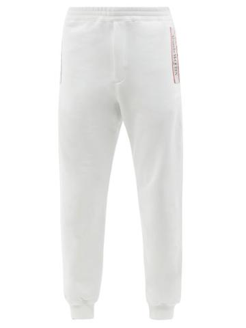 Alexander Mcqueen - Logo-tape Loopback Cotton-jersey Track Pants - Mens - White