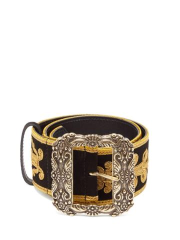 Matchesfashion.com Etro - Embroidered Suede Belt - Womens - Black Gold