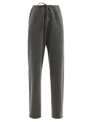Extreme Cashmere - No.142 Run Stretch-cashmere Wide-leg Track Pants - Womens - Dark Grey