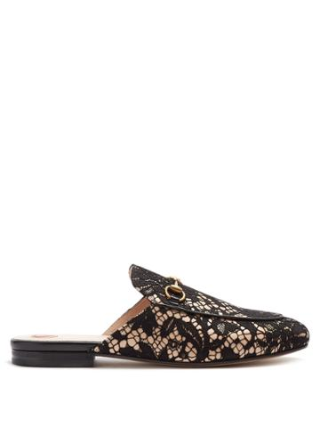 Gucci Princetown Floral-lace Backless Loafers