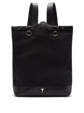 Matchesfashion.com Ami - Leather-trimmed Canvas Backpack - Mens - Black