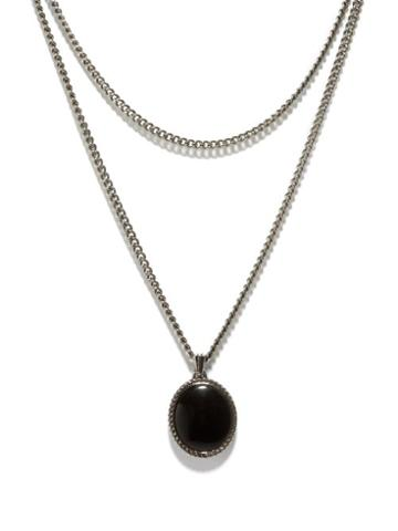 Alexander Mcqueen - Skull & Onyx Double-chain Necklace - Mens - Silver