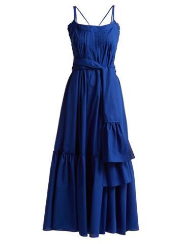 Matchesfashion.com Three Graces London - Ariadne Ruffled Cotton Maxi Dress - Womens - Dark Blue