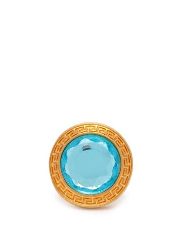Matchesfashion.com Versace - Crystal Dome Ring - Womens - Blue