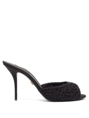 Matchesfashion.com Dolce & Gabbana - Peep-toe Lace And Leather Mules - Womens - Black