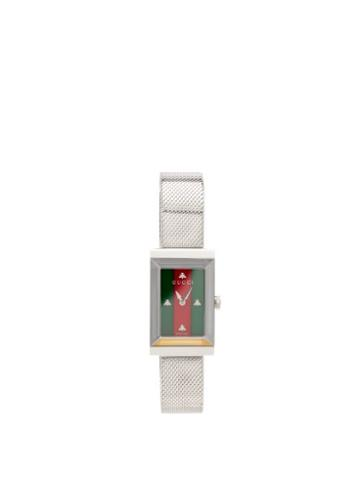 Matchesfashion.com Gucci - G-frame Web Stripe Stainless-steel Watch - Womens - Silver