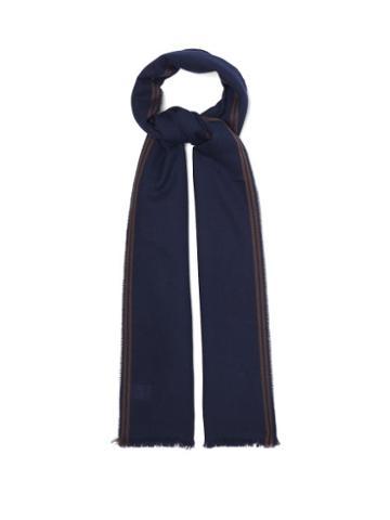 Matchesfashion.com Brunello Cucinelli - Jacquard-striped Cashmere-blend Twill Scarf - Mens - Blue