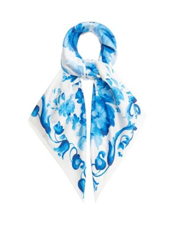 Matchesfashion.com Valentino Garavani - Delft Floral-print Silk Scarf - Womens - Blue White