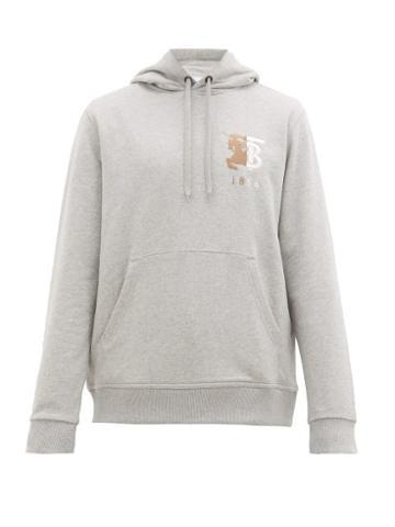 Matchesfashion.com Burberry - Hunter Logo Embroidered Cotton Hooded Sweatshirt - Mens - Grey