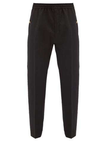 Matchesfashion.com Givenchy - Logo-button Wool Track Pants - Mens - Black