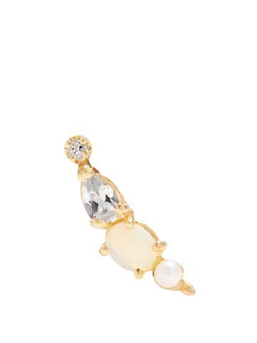Loren Stewart Diamond, Topaz, Opal, Pearl & Yellow-gold Earring