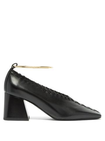 Matchesfashion.com Jil Sander - Whipstitched Square-toe Leather Pumps - Womens - Black