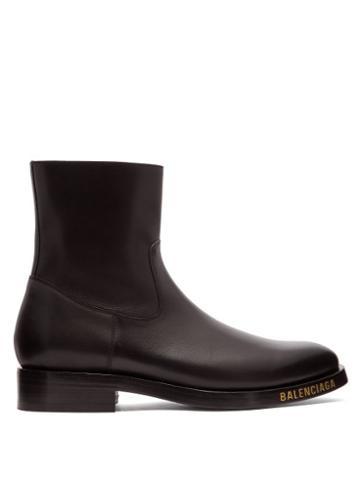Matchesfashion.com Balenciaga - Logo Studded Leather Boots - Mens - Black