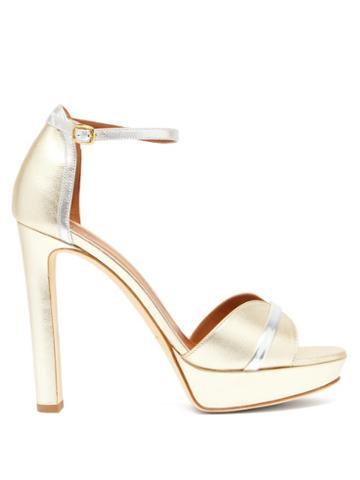 Matchesfashion.com Malone Souliers - Miranda Metallic Leather Platform Sandals - Womens - Gold