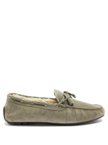 Matchesfashion.com Ralph Lauren Purple Label - Harold Shearling-lined Suede Slippers - Mens - Grey