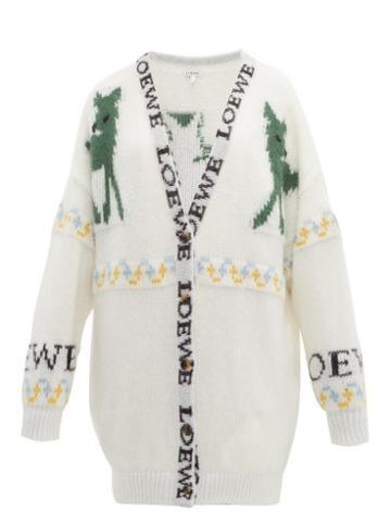 Matchesfashion.com Loewe - Deer Jacquard Mohair Blend Cardigan - Womens - Cream Multi