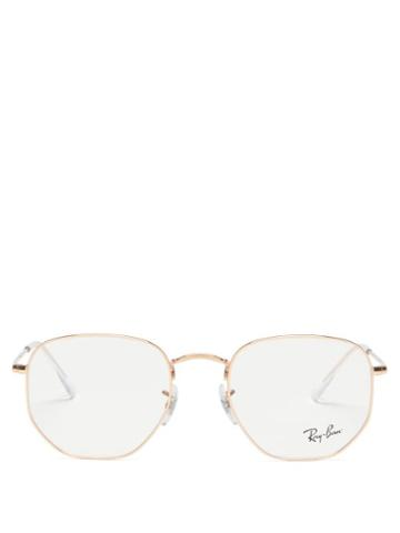 Ray-ban - Hexagonal Metal Glasses - Womens - Rose Gold