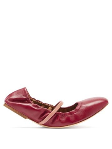 Malone Souliers - Cher Leather Ballet Flats - Womens - Burgundy