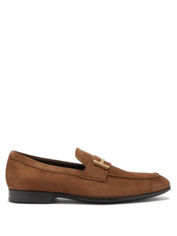 Matchesfashion.com Tod's - T-logo Suede Penny Loafers - Mens - Tan