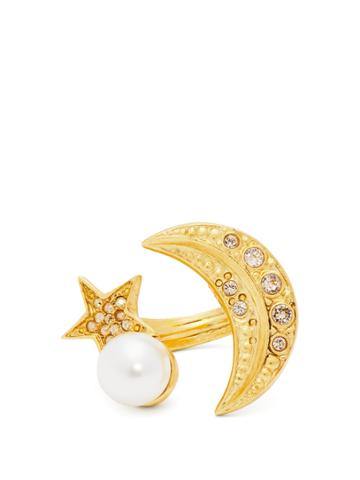 Oscar De La Renta Moon And Star Crystal-embellished Ring