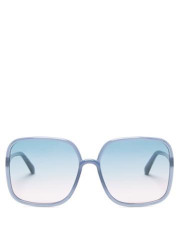 Matchesfashion.com Dior - Diorsostellaire Square Acetate Sunglasses - Womens - Blue